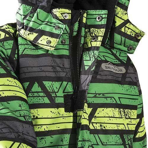 Зимний лыжный комплект (куртка+полукомбинезон) Тайга Ski Tour PIDILIDI с салатовыми штанами