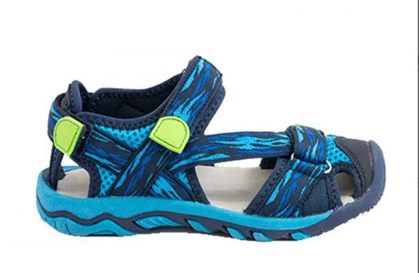 Летние открытые сандалии с прорезиненным носком синие