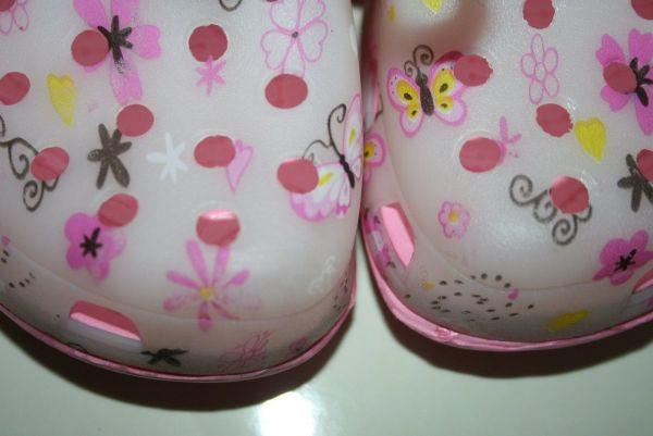 Сабо детские розовые в цветочки Bugga